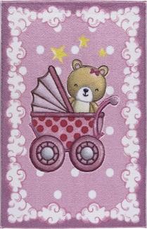 Confetti Teddy Buggy K.Pembe Oymalı Çocuk Halısı