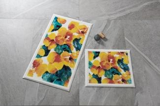 Flower Dust Sarı Banyo Halısı