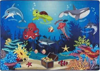 OCEANARIUM MAVİ BUKLE ÇOCUK HALISI