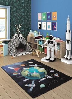 Outer Space Lacivert Bukle Çocuk Halısı
