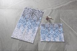 Tracery Antik Mavi Banyo Halısı - Thumbnail